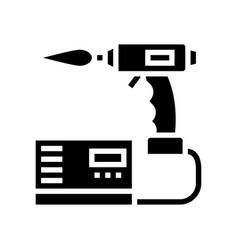 Manual arc welding glyph icon vector