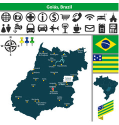 Map of goias brazil vector