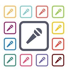 microfone flat icons set vector image