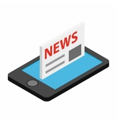 Mobile news isometric 3d icon vector