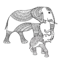 mother elephant and bablack white doodle vector image