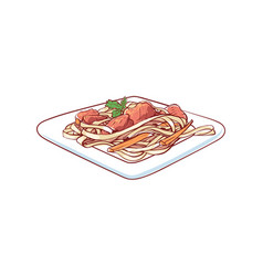 Noodles with vegetable isolated icon vector