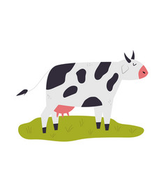 one happy dreaming cow on a lane vector image