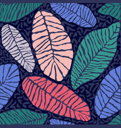 Painted tropical exotic leaves abstract colors in vector
