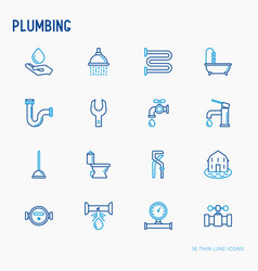plumbing thin line icons set vector image