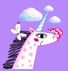 portrait a unicorn on a bright purple vector image