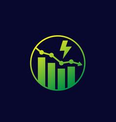 Power consumption decrease reduction icon vector