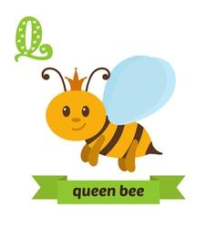 Queen bee Q letter Cute children animal alphabet vector