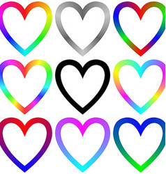 Rainbow gradient heart icon template set vector image