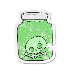 Retro distressed sticker of a cartoon jar with vector