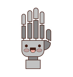 robot hand cartoon kawaii in colorful silhouette vector image
