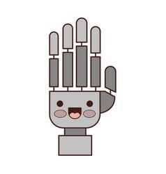 Robot hand cartoon kawaii in colorful silhouette vector