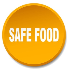 Safe food orange round flat isolated push button vector