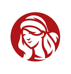 santa woman head silhouette sign vector image