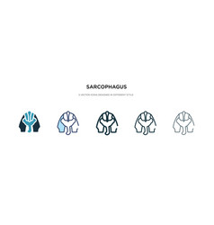 Sarcophagus icon in different style two colored vector