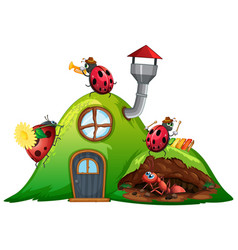 Scene with ladybugs and ant on house vector