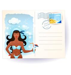 Sea postcard with attractive girl vector