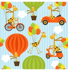 seamless pattern with giraffe on balloons vector image