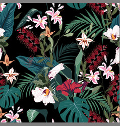 seamless tropical lilies protea and other exotic vector image