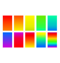 set gradient backgrounds rainbow color palette vector image