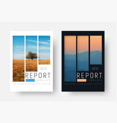 Set of white and black report covers with a vector