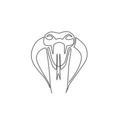 single continuous line drawing venomous snake vector image