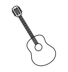 Sketch contour acoustic guitar icon vector