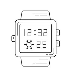 smart watch with time on screen line icon vector image