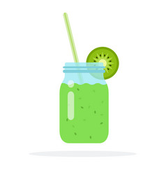 smoothies from kiwi in a glass jar with straws vector image