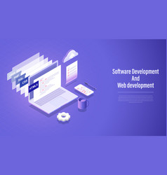 software development and web development vector image