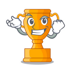 Successful cartoon trophy cup with star on cyan vector