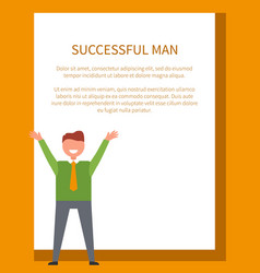 successful man poster happy male dressed formally vector image