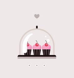 sweet dessert delicious cute cupcakes on tray vector image
