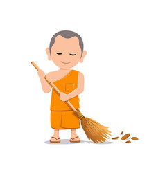 Thai monk is leaf sweep design isolated on white vector