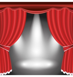 Theater stage with open red curtain and spotlight vector image