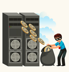 thief in black mask on ethereum farm poster vector image