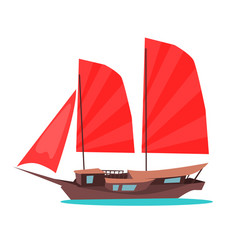 Traditional wooden junk ship flat icon vector
