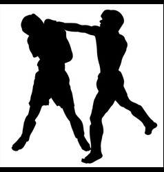 two adult boxers exchange blows silhouette vector image