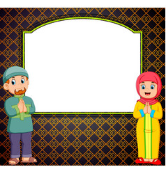 two adult is standing in front blank vector image