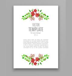 watercolor wedding invitation design with flower vector image vector image