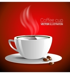 White cup of fragrant hot coffee on a red vector
