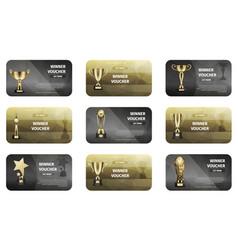 Winner voucher set in golden and silver colors vector
