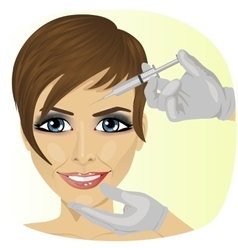 Woman having botox treatment at beauty clinic vector