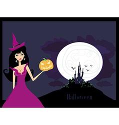 Halloween witch standing with pumpkin vector image