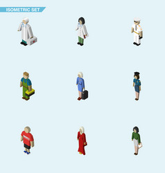 Isometric person set of guy policewoman doctor vector