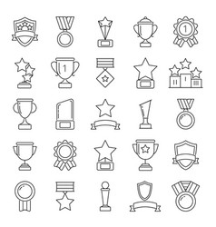 mono line pictures set of cups and trophies vector image