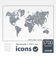 Set of icons packed to earth shape vector image vector image