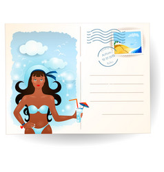 summer postcard with attractive girl vector image