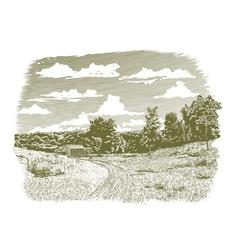Woodcut Goodnight Farm vector image vector image