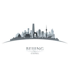 beijing china city skyline silhouette white vector image